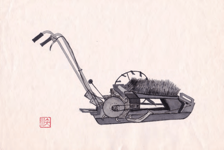 Figure 4. First commercial rice transplanter invented by Masao Sekiguchi in 1965.