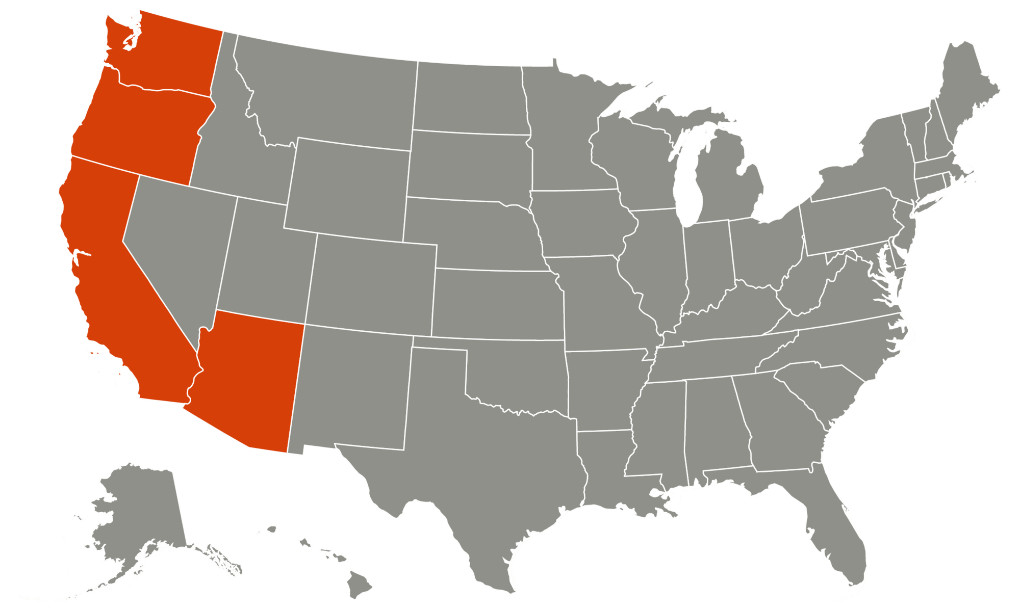 map of United States with Washington, Oregon, California, and Arizona highlighted orange
