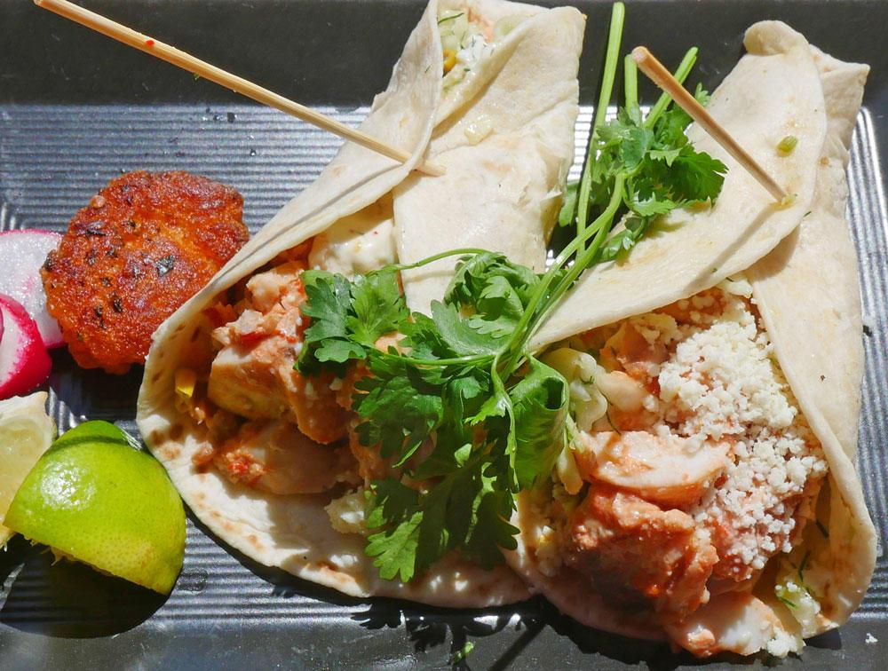 Tacos filled with rockfish are served at Local Ocean's restaurant in Newport.