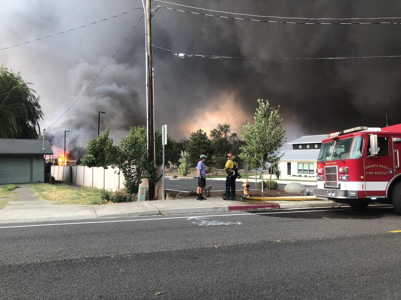 The Almeda fire burns homes in Talent, Oregon, on Sept. 8, 2020.