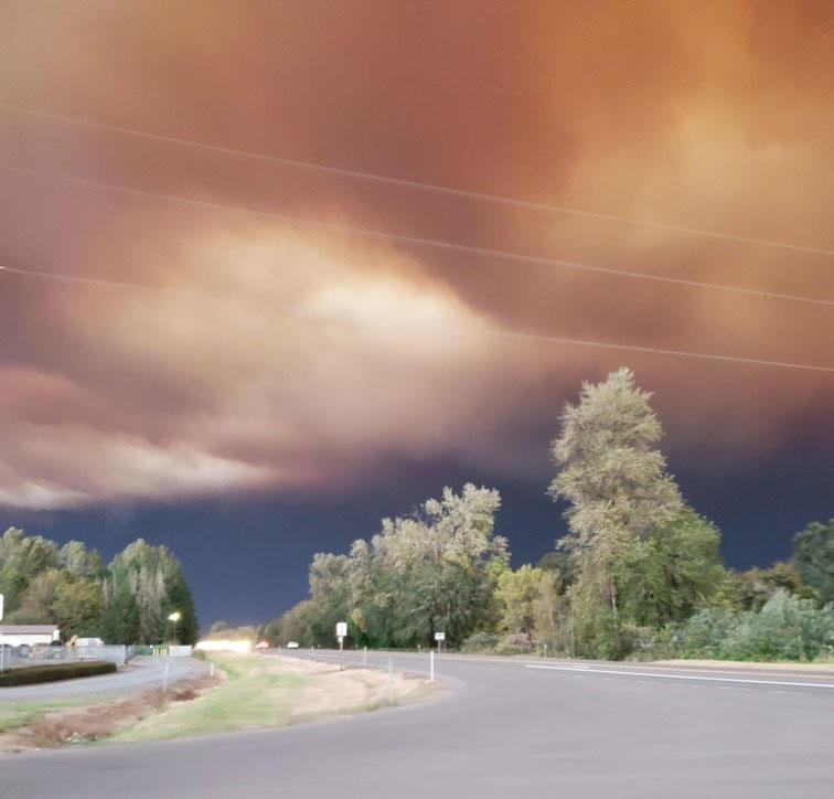 Tiffany Hopkins took a picture of the smoke from the Riverside fire as it filled the sky outside of Estacada, Oregon, on Sept. 8.