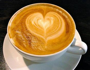 Coffee with a heart made out of foam