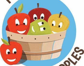 "cartoon graphic of apples with smiling faces in basket text ""project happy apples"""
