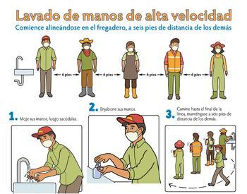 Poster showing the 6 steps of High Speed Hand Washing - Spanish, color