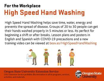 Promotional flyers for High Speed Hand Washing web page in English and Spanish