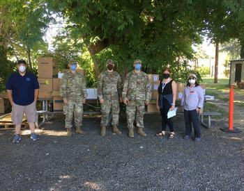 OSU Extension and Agricultural Experiment Station faculty and staff worked alongside the Oregon Army National Guard to distribute personal protective equipment at the Southern Oregon Research Extension Center in Jackson County.