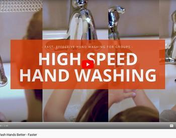 Screen shot of title of the video with hands washing in sinks in the background