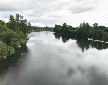 river under cloudy sky